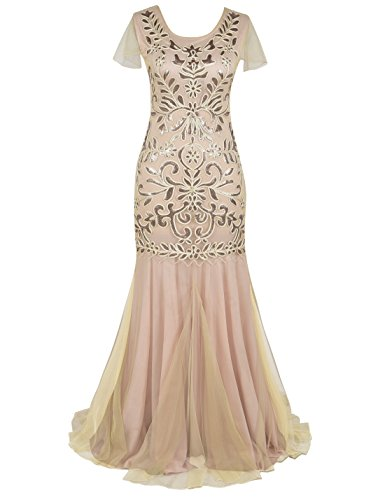Prettyguide Womens Sequin Evening Dress 1920s Flapper Long Mermaid