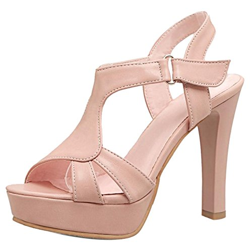 Femmes Chunky JOJONUNU Talons Elegant Sandales Pink qAgnvY7gwx