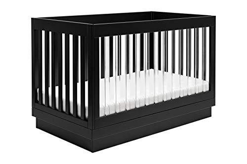 - Babyletto Harlow 3-in-1 Convertible Crib with Toddler Bed Conversion Kit, Black with Black Base and Acrylic Slats