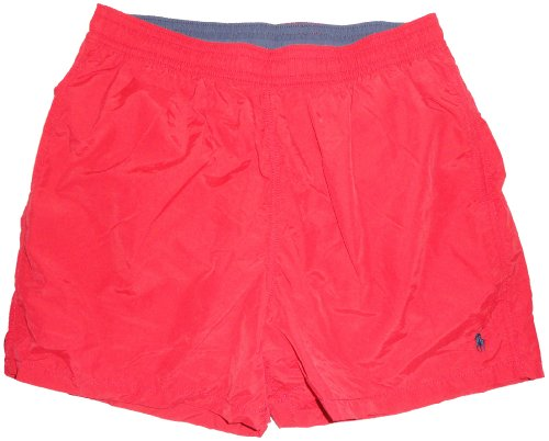 Men's Polo by Ralph Lauren Swimming Trunks Bathing Suit Red with Navy Pony (Small)