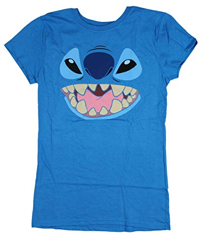 Disney Lilo and Stitch Juniors Stitch Face Character Graphic T-Shirt (Small) Turquoise