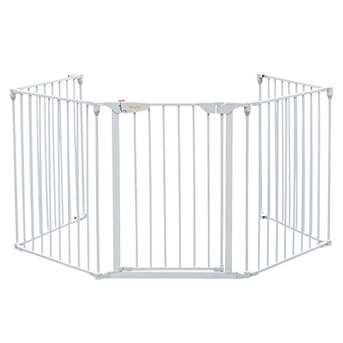 Bonnlo 121-Inch Wide Metal Baby Safety Fence/Play Yard Adjustable Fireplace Hearth BBQ Fire Gate Christmas Tree Gate 5-Panel Playpen for Toddler/Pet/Puppy/Cat/Dog, White]()