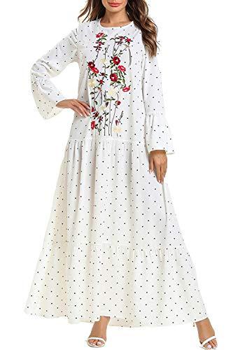 Kaftan Maxi Long Floral Print Long Sleeve White Flowy Casual Summer Dress Muslim Abaya for Women Long Gown Prom Maxi Dress (Islamic Prom Dresses)
