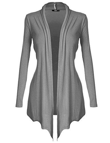 (DRSKIN Women's Open - Front Long Sleeve Knit Cardigan (Cardigan Gray, XL))