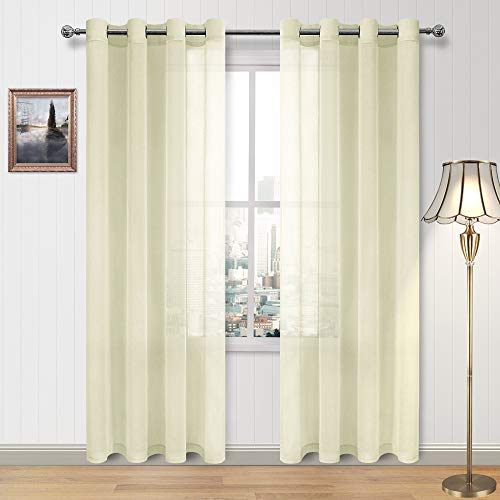 DWCN Voile Sheer Curtains Linen Look Semi Transparent Grommet Curtain for Living Room Pale Yellow Drapes 52 x 84 Inch Long,Set of 2 Panel (Drapes Curtains Yellow And Pale)