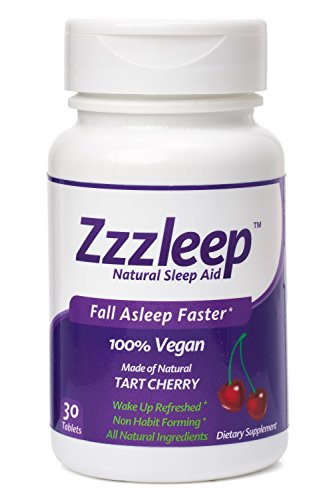 Zzzleep Natural Sleep Aid - Best Natural Sleep Aid - Powerful Over The Counter OTC - Natural Jet Lag & Insomnia Remedy - Tart Cherry, Melatonin, Chamomile, Passion Flower - Chewable Tablets
