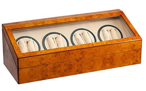 BRAND NEW WALNUT COLOR 8+12 AUTOMATIC QUAD DUAL / DOUBLE WATCH WINDER 12 DISPLAY STORAGE BOX CASE by WatchBuddy
