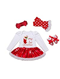My First Christmas Baby Girls Tutu Dress Onesie+Leg Warmers+Headband+Shoes 4 Pcs