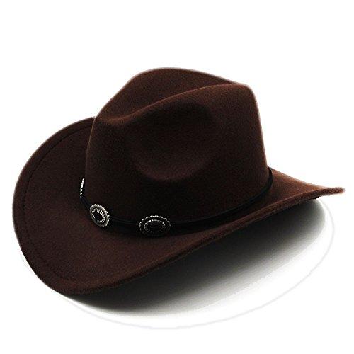 Xeno Kids Child Boys Girls Panama Hats Cowboy Western Caps Wide Brim Sombrero Sunhat Brown