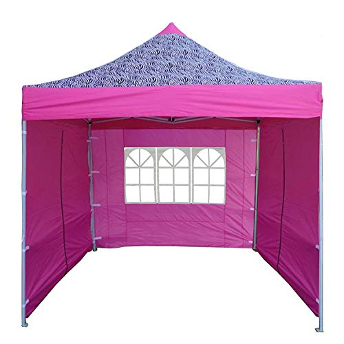 Delta 8'x8' Pink Zebra - EZ Pop up Canopy Party Tent Instant Gazebo 100% Waterproof Top with 4 Removable Sides ()