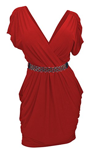 Sexy Hot Dress Red (eVogues Apparel  Plus Size Deep V Neck Wrap Bodice Dress ,Hot Red,2X Plus)