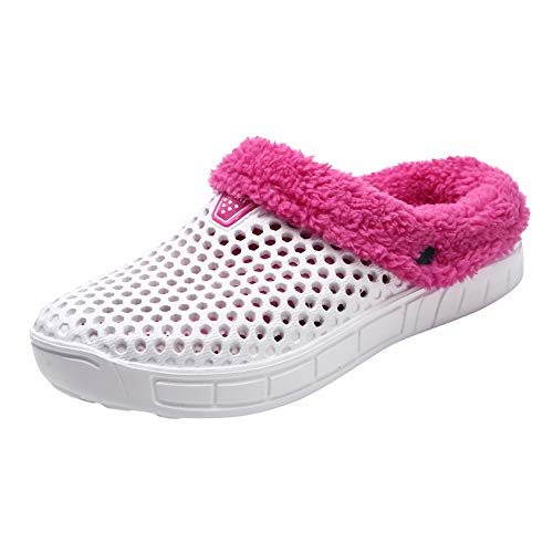 (NUWFOR Couple Women Winter Home Slippers Keep Warm Non-Slip Indoors Bedroom Floor Shoes?White,6.5-7 M US?)