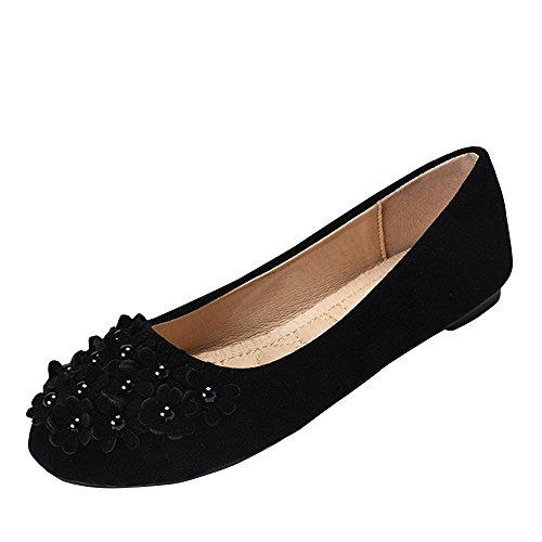 SOIXANTE Chaussures Femmes Eté Ballerines Plates En Velours semelle confortable légèrement Noir LPlA0