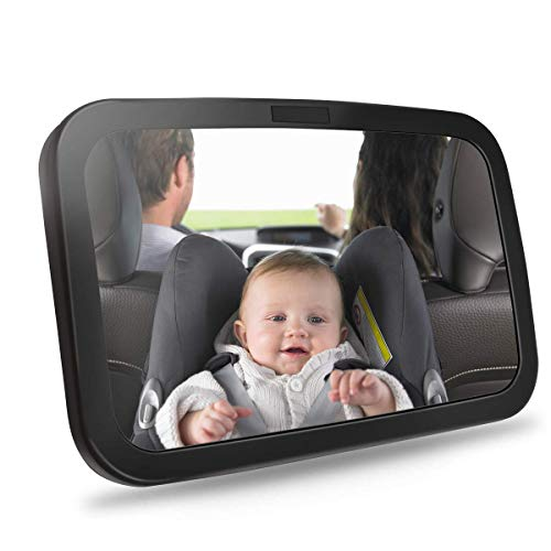 Bigear Baby Backseat Mirror for Car – Safely Monitor Infant Child in Rear Facing Car Seat – Wide View Shatterproof Adjustable Acrylic 360°for Backseat – Best Newborn Car Seat Accessories