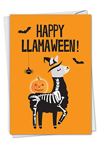 (Llamaween: Humorous Halloween Greeting Card Showing a costume-wearing llama, with Envelope.)