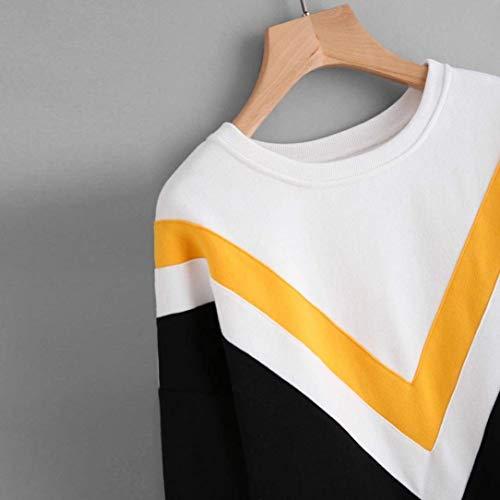 A Couleur longues et T taille à Grande Zhrui manches à encolure shirt ronde Femme PBwaq