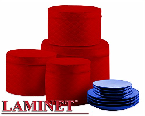 Amazon.com: LAMINET Quilted Plate Storage Cases   Set Of 4   Holds Up To 48  Plates With Padded Inserts   (Red): Kitchen U0026 Dining