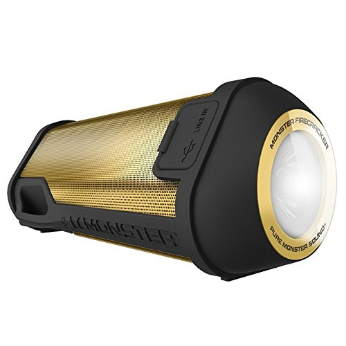 Monster Firecracker High Definition Bluetooth Speaker, Gold Bluetooth Wireless Speaker for Outdoor, Camping ()