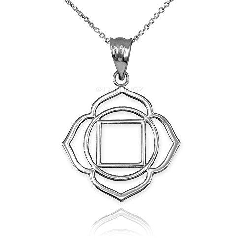 10K White Gold Muladhara Chakra Yoga Pendant Necklace (18)