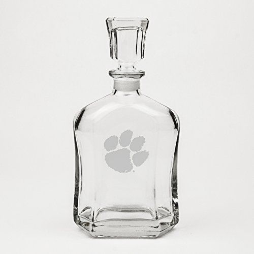 CC Glass Clemson Tigers Deep Etched Whiskey Decanter -