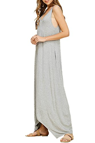 Sleeveless Maxi Long Summer Casual LANTHE Dresses with Plain Beach Loose Gray Dresses Women's Pockets n5qwwzEY