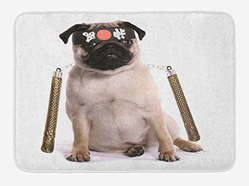 Weeosazg Pug Bath Mat, Ninja Puppy with Nunchuk Karate Dog Eastern Warrior Inspired Costume Pug Image, Plush Bathroom Decor Mat with Non Slip Backing, 31.5 X 19.7 Inches, Cream Black Gold -
