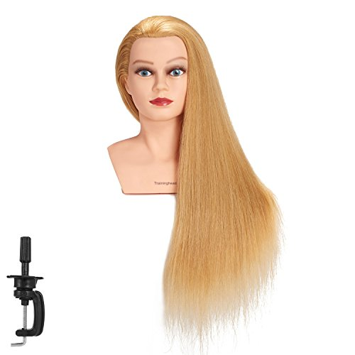 Traininghead 28-30 100% Human Hair Mannequin Head Hairdressing Training Practice Head Hair Styling Cosmetology Manikin Doll Head With Clamp (Blond)