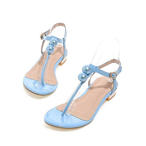 AllhqFashion Mujeres Mini tacón Charol Sólido Hebilla Puntera Dividida Sandalia Azul