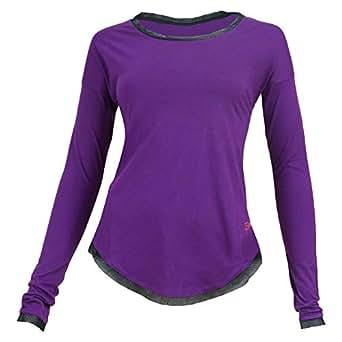 Burn Activewear Purple Round Neck T-Shirt For Women