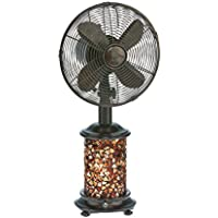 DecoBREEZE Metropolitan 10-Inch Oscillating Table Fan with Bronze Mosaic Glass Light Up Base