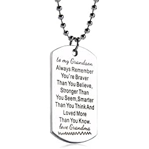 "Amazon.com: Grandson best wish dog Tag From Grandma""to my"