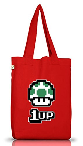 ShirtStreet Geek Nerd Gamer Pixel Jutebeutel Tasche Earth Positive Retro Gamer 1 Up Pilz Red