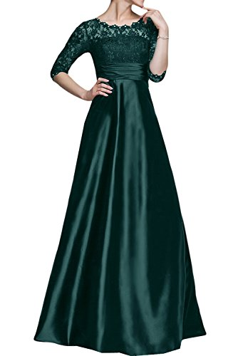 Sunvary Vingage Satin and Lace Mother of the Bride Dresses Half Sleeves Size 12- Dark Green