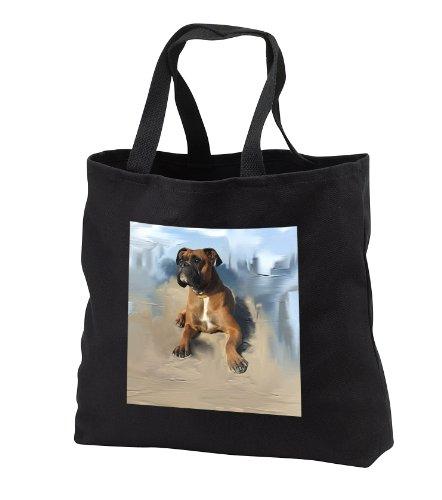 Dogs Boxer - Brindle Boxer - Tote Bags - Black Tote Bag 14w x 14h x 3d (tb_4141_1)