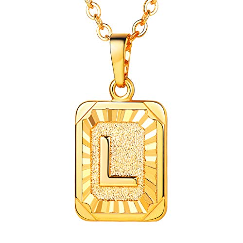 U7 A-Z 26 Letters Pendant Men Womens Fashion Jewelry 18K Gold Plated Square Pendants Capital Initial Necklace (L)