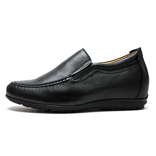 Shoes Cow 2 010H01 Increasing Leather 56 Raise Elevator Driving Slip Casual Leather inch CHAMARIPA Hight Loafer Shoes Men On Black PfBqO