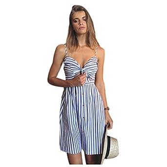 TOOGOO(R) New Women Summer Strapless Off Shoulder Sexy Dress Strap Sleeveless Blue Striped