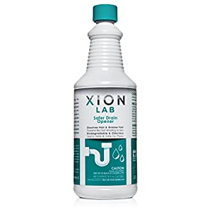 Xion Lab Fast-Acting Drain Opener – Liquid Drain Cleaner for Hair Clog + Grease | Odorless, Non-Toxic, Industrial Strength Pipe and Tub Drain Clog Remover for Sink, Shower, Bath Tub, Kitchen – 32 Oz