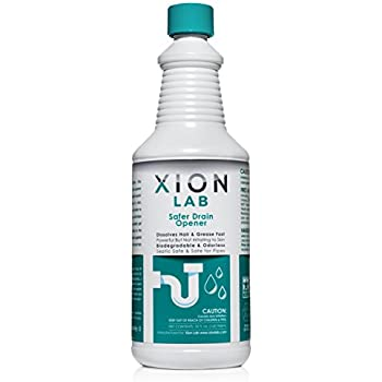 XIONLAB Safer Drain Opener – Fast Liquid Drain Cleaner for Hair Clog + Grease - Odorless, Biodegradable, Industrial Strength Pipe and Drain Clog Remover for Sink, Shower, Bath Tub, Kitchen – 32 oz