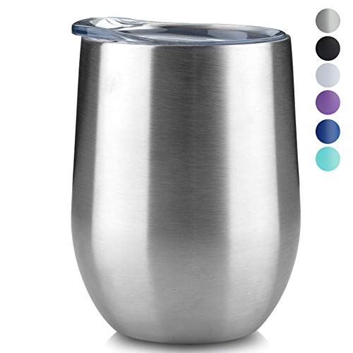 (MUCHENG 12oz Insulated Wine Tumbler with Lid, Stemless Stainless Steel Insulated Wine Glass Double Wall Durable Coffee Mug, for Champaign, Cocktail, Beer, Office use)