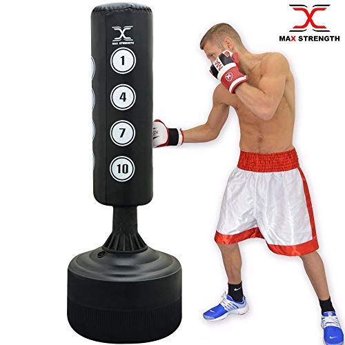Max Strength Pedestal Free Standing boxing or kickboxing Large 6ft Punch Bag Martial Arts, MMA fitness equipment.