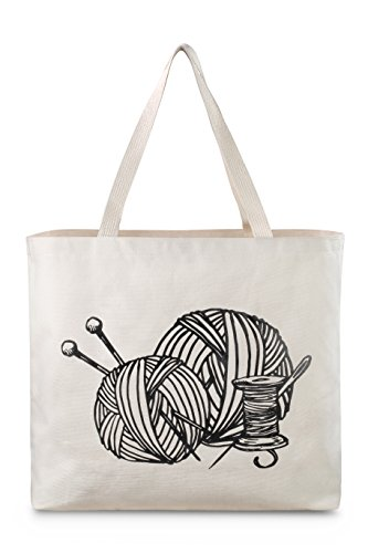 Reusable Canvas Bag - Large Tote Bag with Printed Knitting Theme. Double Stitched with Shoulder Straps. Easily Carry your Yarn and Knitting Needles. Made in USA (Knitting) (Bags Totes Knitting)