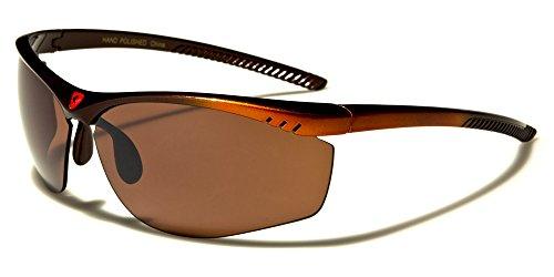 Semi-Rimless Wraparound Khan Men's Sports Sunglasses - Red