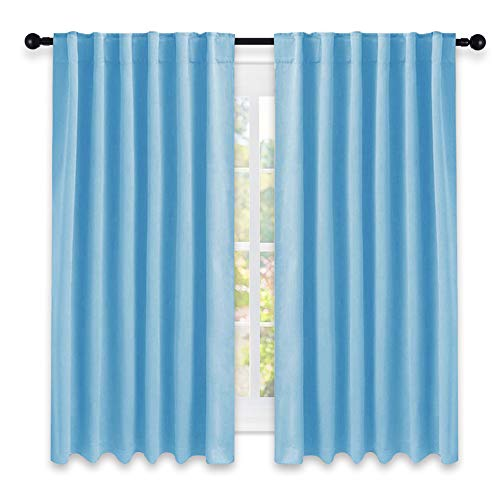 NICETOWN Window Treatment Blackout Curtains and Draperies - (Blue Color) 52x63 Inch, 2 Panels, Room Darkening Blackout Panel Drapes for Bedroom ()