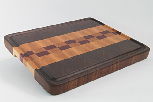 Handcrafted Wood Cutting Board - End Grain - Walnut, Cherry, Purpleheart & Maple. Juice groove, no slip bottom and easy grip. For chef/cook