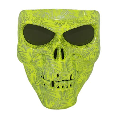 Vhccirt Airsoft/Paintball/Motorcross Protective Mask Halloween Spooky Decor Scary Skull/Zombie Face Mask Halloween Grim Reaper Cosplay Green Gost Mask Gray Lenses