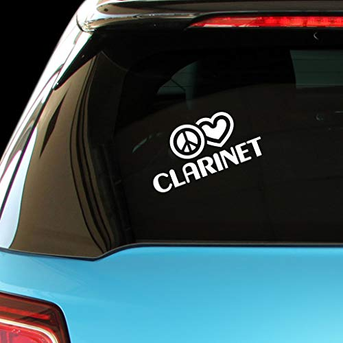 PEACE LOVE CLARINET Music Car Laptop Sticker Decal