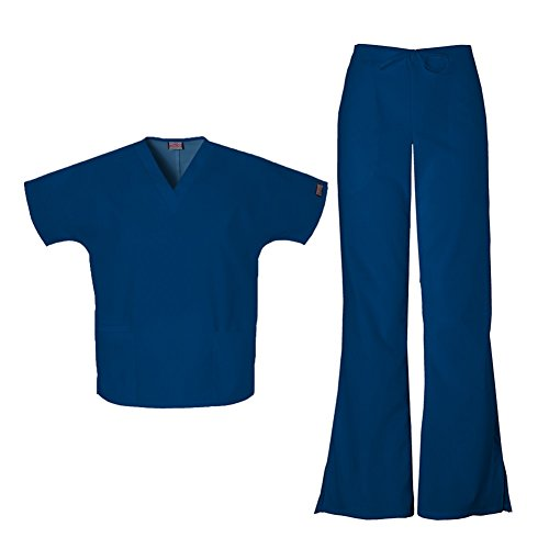 [Cherokee Workwear Women's 4700 Top & 4101 Pant Medical Uniform Scrub Set (Navy - XX-Large)] (Cute Uniform Outfits)