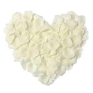 AKOAK 1000 Pieces Ivory Silk Rose Petals Artificial Flower Wedding Party Decoration 5