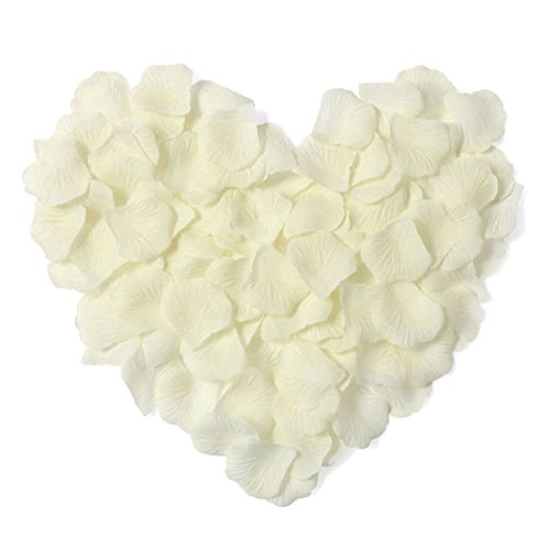AKOAK 1000 Pieces Ivory Silk Rose Petals Artificial Flower Wedding Party Decoration